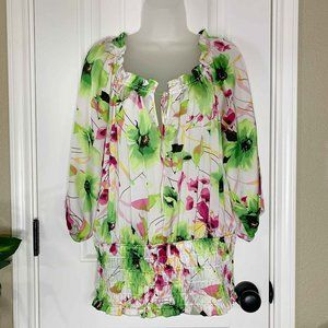 CATO drawstring floral spring summer blouse size L